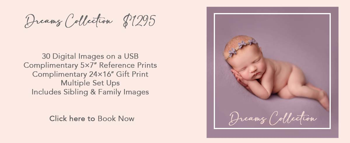 Dreams Collection  $1295 30 Digital Images on a USB Complimentary 5×7″ Reference Prints Complimentary 24×16″  Gift Print Multiple Set Ups Includes Sibling & Family Images